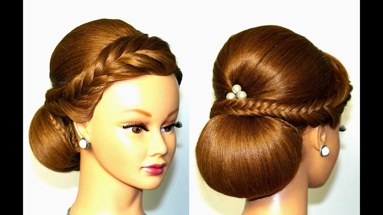 Beautiful Bridal Hairstyle For Long Hair: Wedding Hairstyle For Medium Long Hair, Elegant Updo