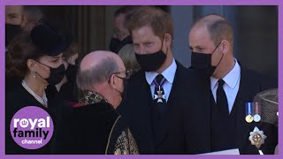 Prince Harry and William Walk Together as Royal Family Departs Prince Philip's Funeral