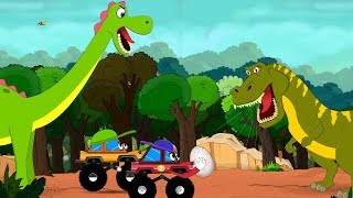Dinosaurs Cartoons for children with Dino Egg Rescue by Little Red Truck - videos for Kids