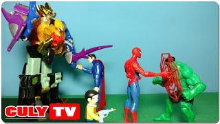 Người nhện giúp siêu nhân gao đỏ kêu gọi robot siêu thú bắt Superman đồ chơi doremon hài trẻ em