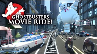 GHOSTBUSTERS!!! Backlot Movie Roller Coaster & Dark Ride! (POV) [CC]