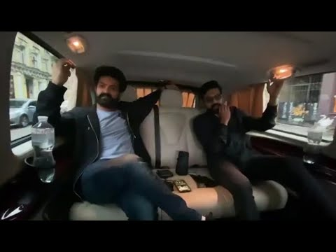 Ram Charan and Jr NTR enjoying a ride listening to Dosti song in Ukraine