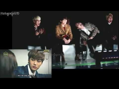 131114 EXO drama VCR @ Melon Awards 2013 - SHINee reaction (SPLIT SCREEN)