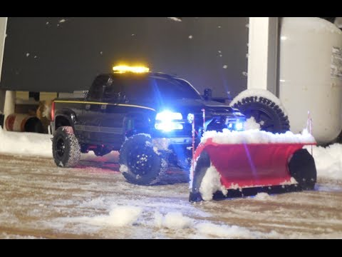 1st Snow Test With 3d Printed Snowplow Rc 1 10 Chevy