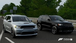 Forza 7 Drag race: Dodge Durango SRT (Tuned) vs Jeep Trackhawk