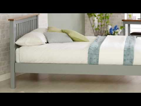 New Hampshire Low End Bed - Grey & Oak