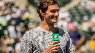 Federer habla con los Fans tras el walkover