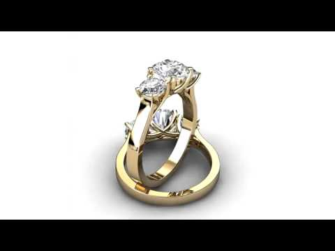 Natalie Diamonds - Yellow Gold Three Stone Trellis Diamond Engagement Ring 161y