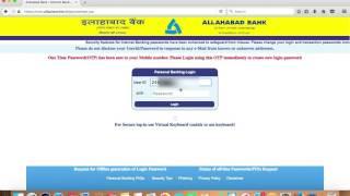 ALLAHABAD BANK INTERNET BANKING ACTIVATION AND FORGOT PASSWORD-HINDI