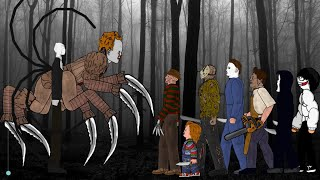 SLENDER MAN vs IT Pennywise vs Jason Voorhees, Freddy, Michael, Leatherface, Chucky, Ghostface, Jeff