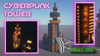 Minecraft Cyberpunk Tower TUTORIAL - How to make a Cyberpunk Skyscraper in Minecraft Cyberpunk Base