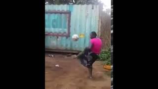 African woman crazy football skills