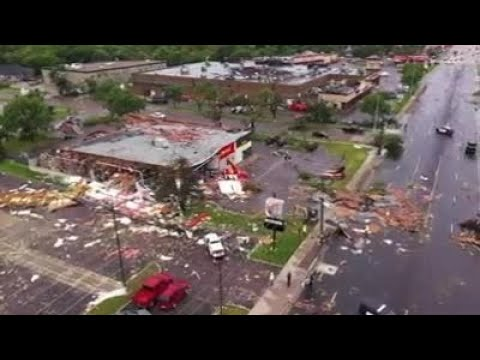 Drone video shows tornado destruction in Sioux Falls