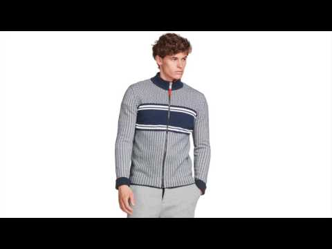 Bogner Joshua Mens Zip Knit Midlayer in Navy