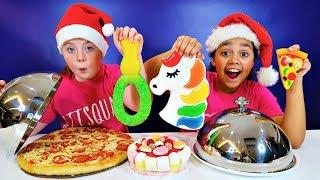 REAL FOOD VS GUMMY FOOD CHALLENGE!! Christmas Edition
