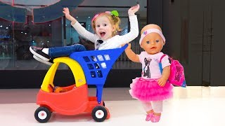 Shopping with Funny baby born doll and play hide and seek