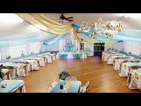 Faos events decoracion dorado y azul turquesa en el ta o - Decoraciones en color plata ...