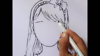 Bé tập vẽ- chân dung cô gái 1