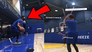 Stephen Curry works on his handles and Jump Shot Release at the Golden State Warriors Chase Center
