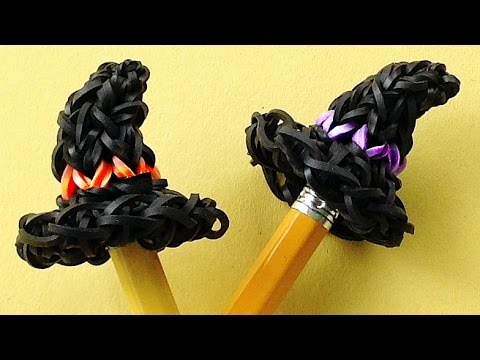 Rainbow Loom Charms Halloween Witch Hat / Loom Bands Pencil Topper Charm