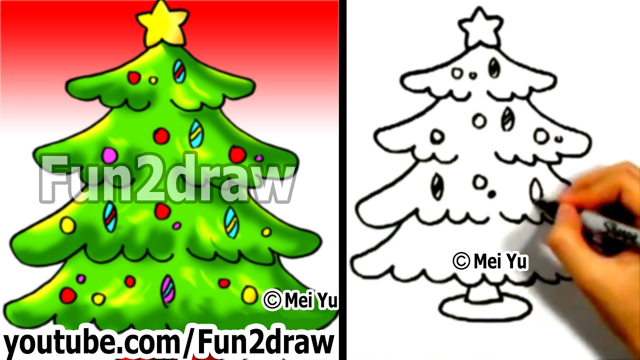 How To Draw A Christmas Tree In 1 Min