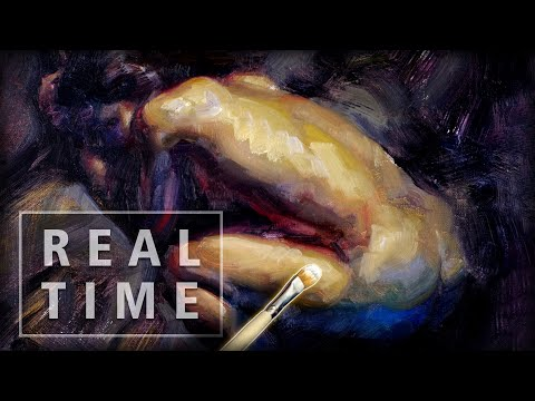 REAL TIME Figurative process, Painting the figure in Oils with Art Tips and Calm Ambient Music