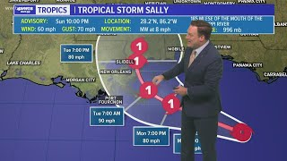 Sunday Night Tropical Update: Tropical Storm Sally's path shifts east