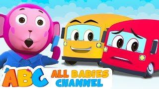 Five Little Buses Jumping On The Road | All Babies Channel | 3D Nursery Rhymes For Kids