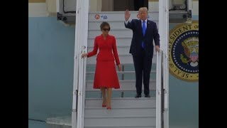 Raw: President Trump Arrives in France -