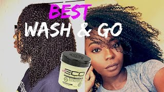 WASH & GO | ECO STYLER BLACK CASTOR & FLAXSEED OIL GEL | NATURAL HAIR VIDEO 2017