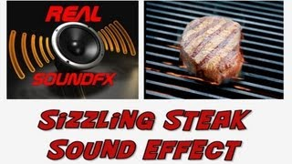 Sizzling meat cooking on bbq hotplate sound effect - sizzle realsoundFX