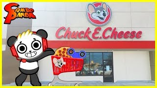 Chuck E Cheese Arcade Games ! Pizza + Fidget Spinner Prizes !
