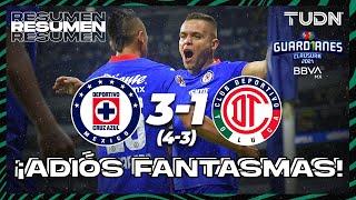 Resumen y goles   Cruz Azul 3(4)-(3)1 Toluca   Torneo Guard1anes 2021 BBVA MX  4tos   TUDN