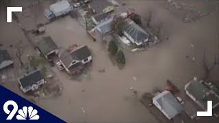 RAW: Aerial view of flooding damage in Nebraska