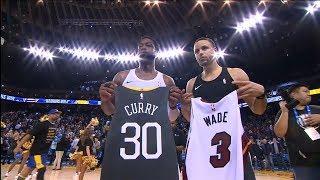 Dwyane Wade Swaps Jerseys With Stephen Curry - Heat vs Warriors | Februray 10, 2019