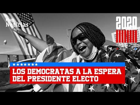 ENTUSIASMO en la SEDE DEMOCRATA en DELAWARE tras la VICTORIA de JOE BIDEN I RTVE
