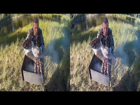 Super picnic on the RIVER 3D ! The meat on the Fire ! 3D VIDEO
