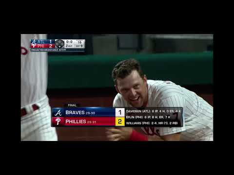 Luke Williams Walk Off Home Run and it's his First Career Home Run! Phillies vs Braves 6/9/21