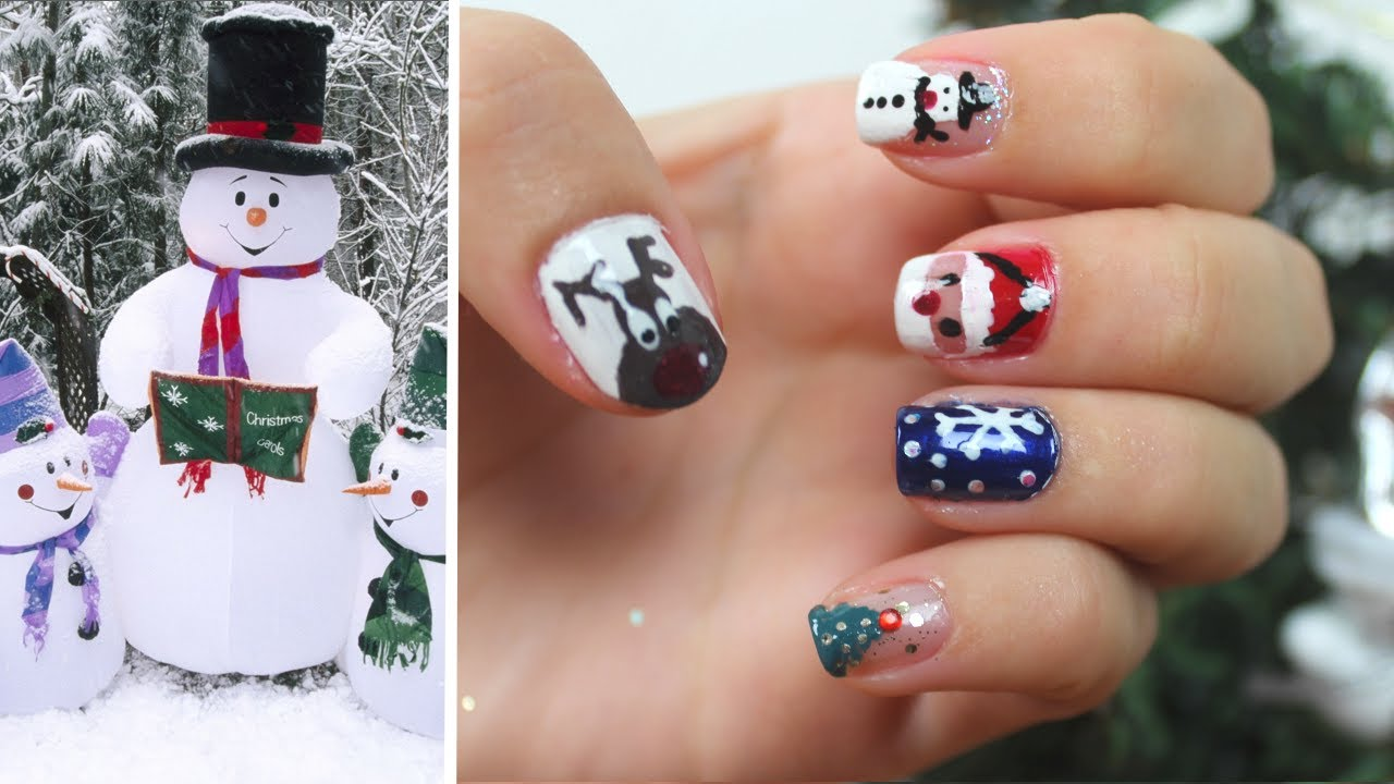 nail art de no l 5 dessins faciles reproduire youtube. Black Bedroom Furniture Sets. Home Design Ideas