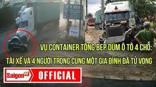 Khoảnh khắc va chạm giữa xe container và xe ô tô 4 chỗ ở Tây Ninh