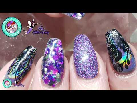 Acrylic Nails - Redesign - Stamping - Glitter Embedding - Holographic Pigment