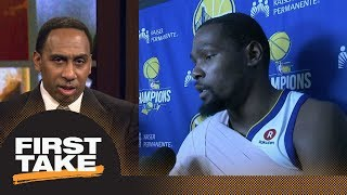 Stephen A. goes off on Kevin Durant: I don't want to hear you miss Steph Curry   First Take   ESPN