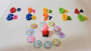 Surprise Easter eggs with stickers . Peppa learn numbers,colors with playdoh fun.