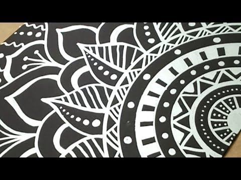 Silver Mandala Flower Doodle on Black Paper with Paint Pen