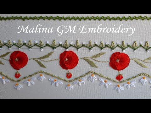 Poppy borderline | Border Embroidery | Floral stitches