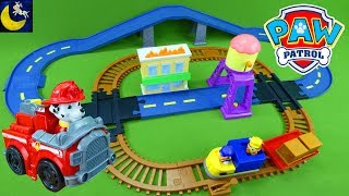 LOTS of Paw Patrol Toys Monster Truck Race Car Marshall Chase and Skye Adventure Bay Train Track Set