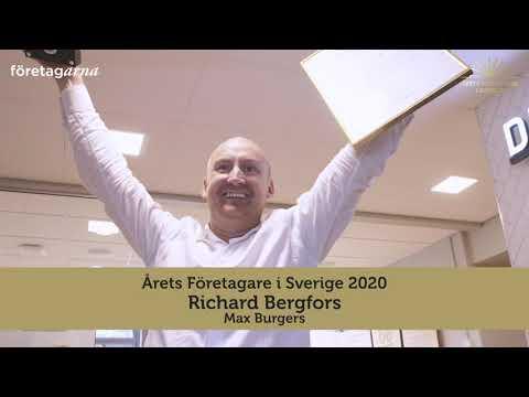 Richard Bergfors på MAX Burgers är Årets Företagare i Sverige 2020