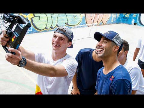 Kickin' it on the court   Max Verstappen and Daniel Ricciardo get a futsal masterclass in São Paulo