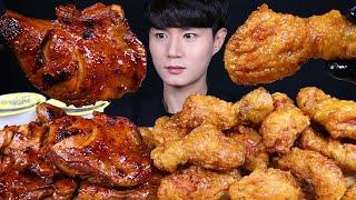 자메이카통다리 허니콤보 치킨 먹방ASMR MUKBANG SWEET FRIED CHICKEN & SPICY BBQ CHICKEN 甘いチキン バーベキューチキン eating sounds