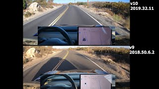 Tesla Autopilot on Fast Winding Road - V10 vs V9